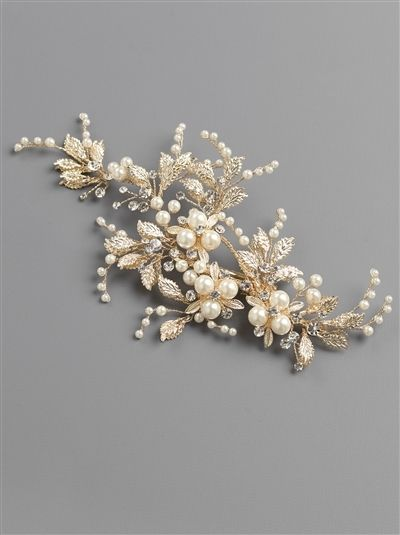 91b4b1dddb23 Pearl and Rhinestone Gold or Silver Floral Wedding Hair Clip