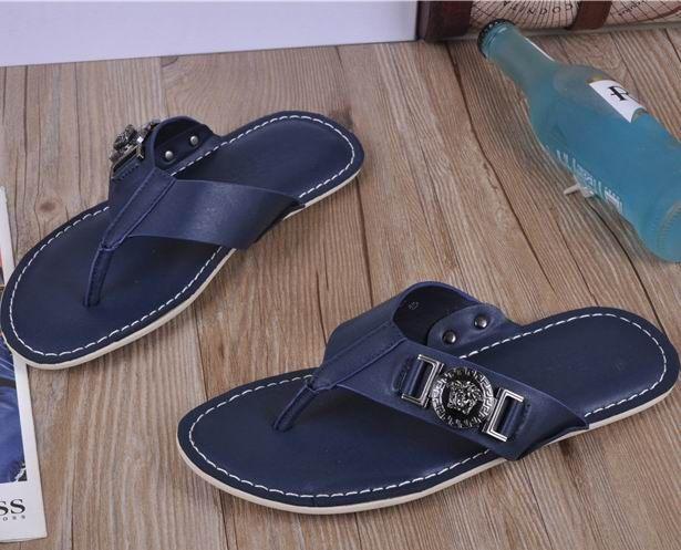 Versace Medusa Leather Flip Flops Blue