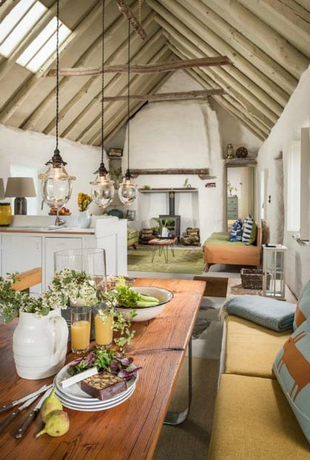 Home Design Yellow Upholstered Furnitures And Mint Green Color Palette Decor Inside This Traditional Cottage With Beige Rough Wooden Beams And White Rough Walls Also Industrial Pendant Lights Classic Irish Cottage With A Pastoral Landscape Around