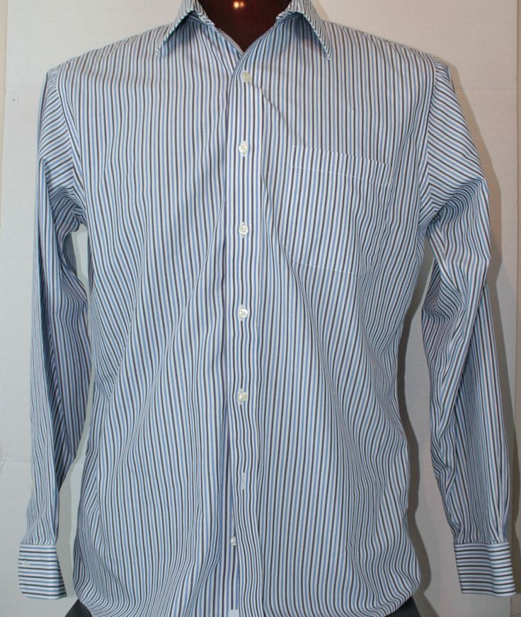 Brooks Brothers Button Front Mens Dress Shirt 16 - 4/5 Slim Fit Non Iron Stripe