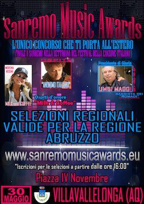 VILLAVALLELONGA (AQ) – Dal 30 maggio al 7 giugno Villavallelonga, un comune all'interno del Parco Nazionale d'Abruzzo, Lazio e Molise, sarà al centro dell'attenzione per la sequenza di una serie di eventi eterogenei di cui sarà testimone. Un evento per giovani, e non solo, e gruppi emergenti, il Sanremo Music Award che si svolgerà il