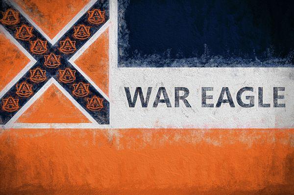 Auburn,Auburn University,AU on Mississippi Flag,MS Auburn Flag,Miss Auburn Flag,Orange and blue Mississippi Flag,Orange and blue MS flag,Gifts for Auburn Fans living in MS,War Eagle,War Damn Eagle,