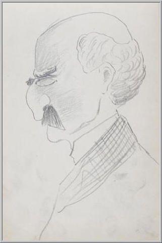 Mario Tozzi 1912:  Ritratto di Professore II. Disegno matita e inchiostro - cm.(11x17) - Collezione eredi Brunetti-Laderchi Bologna - Archivio n.8 - Catalogo n.1° pagina 48.
