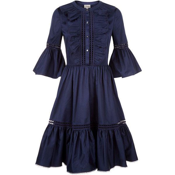 Temperley London Morganne Cotton Dress (€815) via Polyvore featuring dresses, cotton dresses, cotton day dresses, temperley london dress, blue cotton dress e temperley london