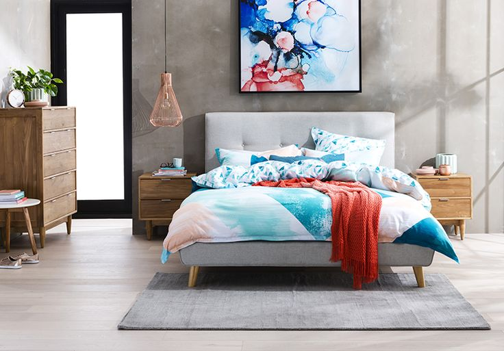 Latest season Spring/Summer bedroom furniture has just landed at Forty Winks and we're sharing the latest trends and how to refresh your bedroom this Spring! Love this coral and ocean blue colour palette and that upholstered light grey bed with Scandi legs is just too fine. See more here >>>