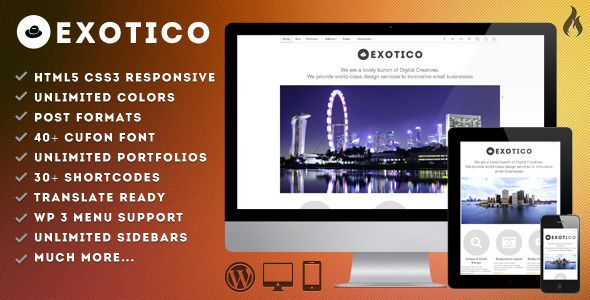 Exotico - Responsive WordPress Theme (1200p)   http://themeforest.net/item/exotico-responsive-wordpress-theme-1200p/2410980?ref=damiamio       Exotico is for creative people who want to show their work or product with quality and good design. It is completely responsive from 1200px to an iPhone's screen so you do not lose customers regardless of the device they use to see your website.  Features   Fully Responsive  HTML5 & CSS3 magic  Build with the great Bootstrap, from Twitter  Unlimited…