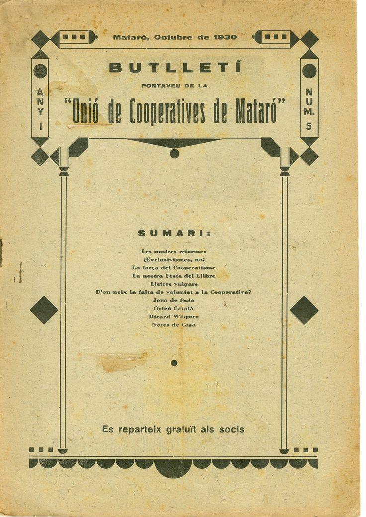 """Butlletí portaveu de la """"Unió de Cooperatives de Mataró"""" (1930-1933). Incompleta. Cooperativisme."""