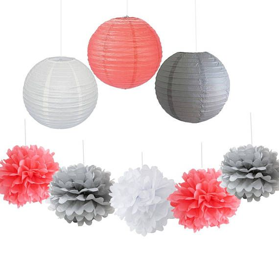 9PCS Coral Gray White Decorative Hanging Paper Ball Lantern Pom Poms  Wedding Flower Centerpieces Birthday Girl Baby Shower Decoration