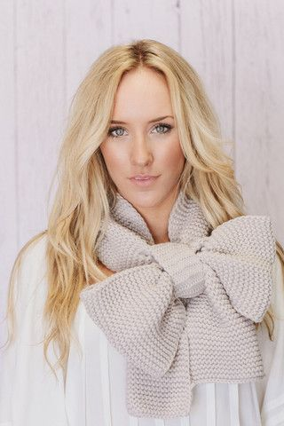 knitted bow scarf chunky neck warmer