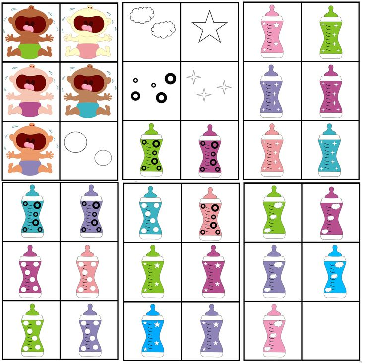 matrix de baby: kleur luier combineren met figuur om zo de papfles te vinden voor de huilende baby's