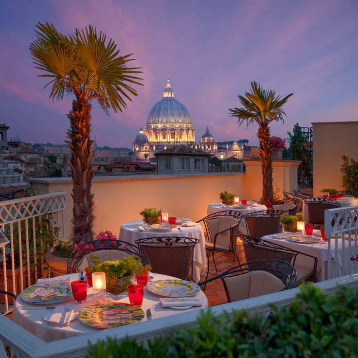 THE TERRACE, Hotel Raphael, Rome - THE TERRACE - Just steps away from the Piazza Navona, chef Jean-Luc Fruneau reimagines traditional Mediterranean cuisine at the multilevel rooftop garden at the Raphaël Hotel's restaurant, which faces the Bramante cloister in the church of Santa Maria della Pace. The terrace also overlooks many of the Eternal City's architectural wonders, from the Pantheon and St. Peter's Basilica to Castel Sant'Angelo and Giuseppe Sacconi's 1885 war memorial. (REF)
