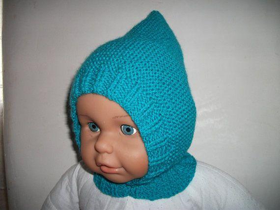 Cagoule/béguin turquoise pour bébé 6/12 mois