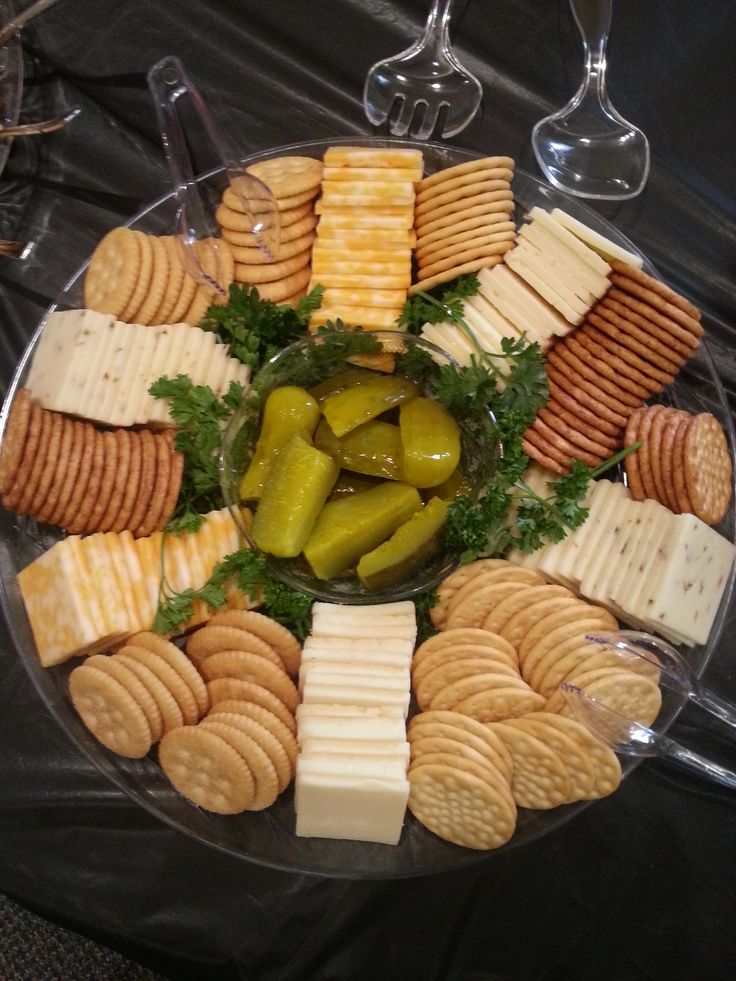 Cheese & Cracker Tray center filled with mini pickles