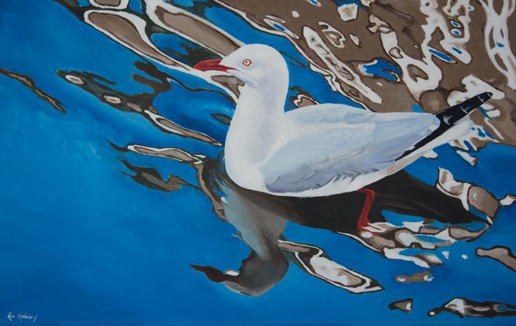 Seagull painted from a photo I took at Coffs Harbour.  Painted in oil on fine cotton duck.