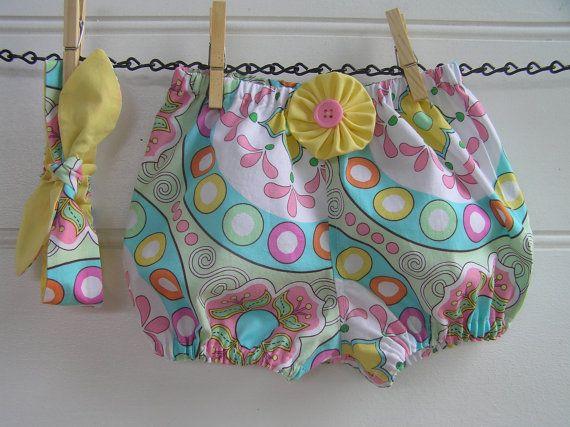 Calzoncini e fascia  giallo rosa fiori estate di Shopatots su Etsy