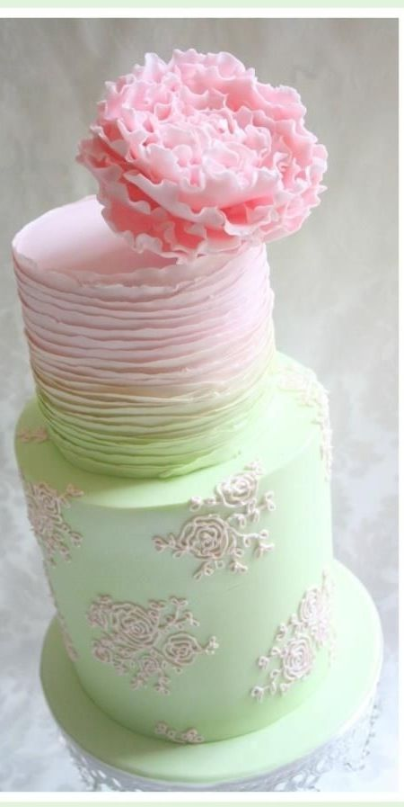 I love the transition from green to pink and the flower on top is incredible!