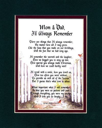 Wedding Anniversary Gift For Mom And Dad : and MoM Poems Mom & Dad, Ill Always Remember