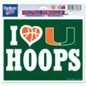 "Miami Hurricanes I Love U Hoops, 5"" x 6"" Miami Hurricanes Basketball"