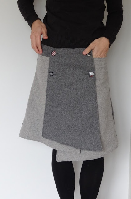 Free #Sewing Pattern (for download): Overlapping, asymmetrical, knee-length skirt