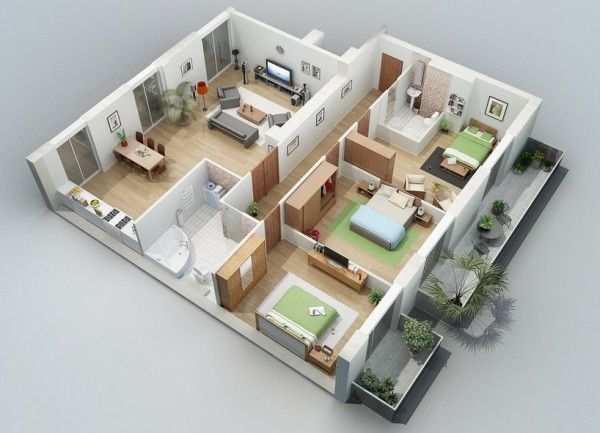 Beautiful Apartment Designs Shown With Rendered 3D Floor Plans
