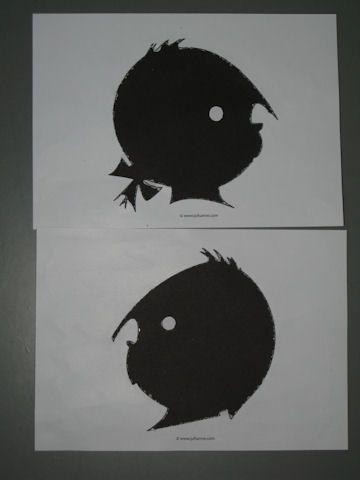 Jip en Janneke prikken uit wit papier en dan zwart papier erachter plakken en een wit oogje er op.