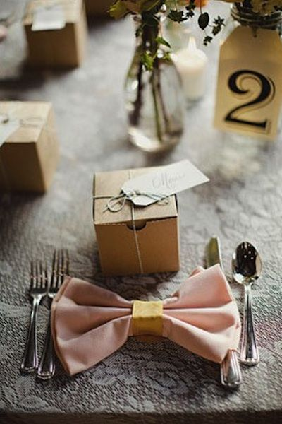 "table setting with ""bow"" napkin"
