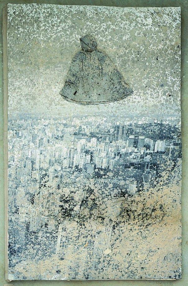 Anselm Kiefer, Liliths Töchter, 1998, Sable et tissu sur photographies sur carton, 127 x 80 x 5.5 cm. © Anselm Kiefer Photo © Atelier Anselm Kiefer