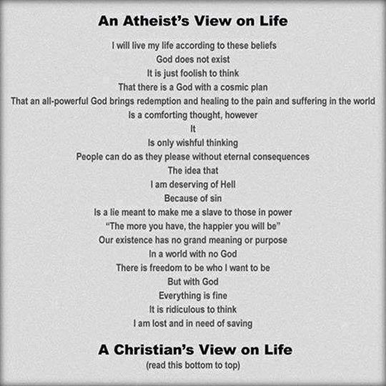 Wow, this is amazing. And sums it up pretty great! Atheists & Christians view on life...