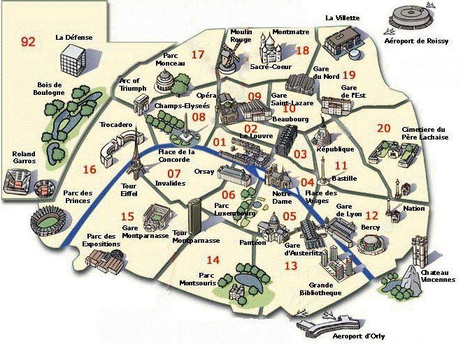 Carte de Paris, plan des 110 principaux lieux