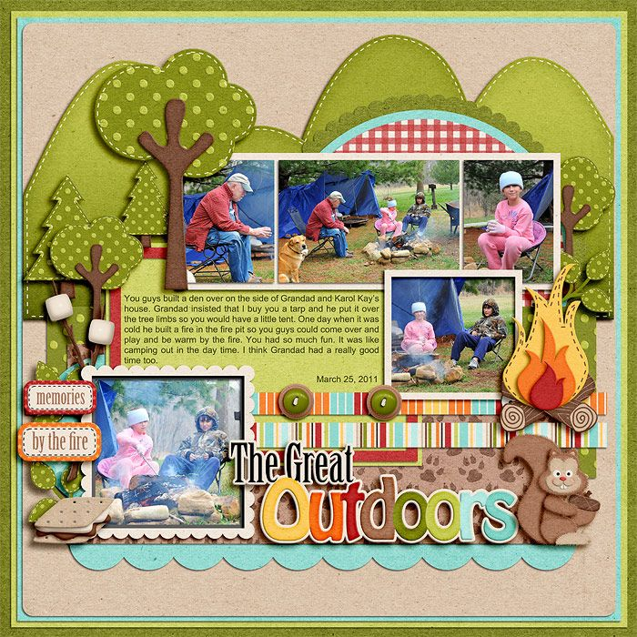 Camping ideas. Wow, I love this scrapbook page!