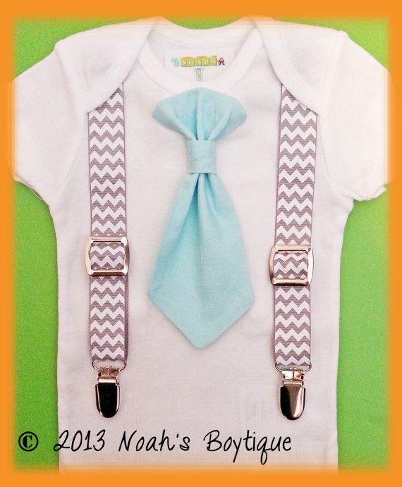 Baby Boy Clothes - Infant Tie Suspenders - Aqua Tie Chevron Suspenders - Cake Smash - Baby Tuxedo - Baby Boy First Birthday Outfit on Etsy, $21.71 AUD