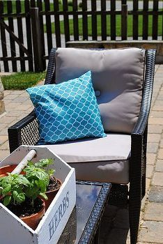 diy outdoor tablecloth and plastic bag pillows, crafts, home decor, outdoor furniture, painted furniture, patio