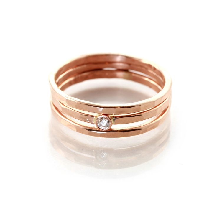 14k Hammered 3 Ring Set Rings And ThingsUnique Wedding