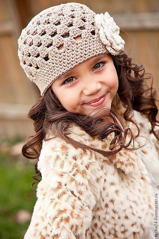 "Crocheted hat / Купить Шапочка ""Лолита"" - цветок, шапочка для девочки, шапочка с цветком, шапочка вязаная, шапочка крючком"