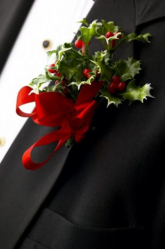Boutonniere for groom/groomsmen. December wedding - would be great with white/blush rose
