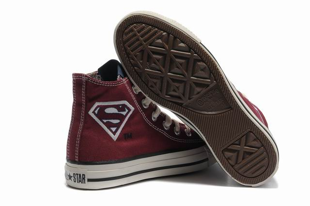 Converse All Star Hi Dc Comics Shoes Maroon superman under $ 46.00