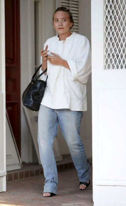 Mary-Kate Olsen wearing relaxed jeans in LA #style #fashion #mka #olsentwins