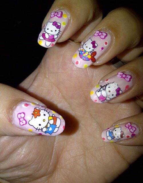 Hello kitty nails so cute <3