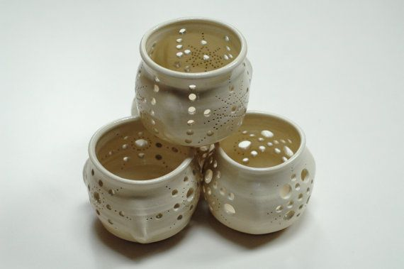 pottery lantern,clay candle lantern,pierced lantern,neutral lantern,patio decor,pottery luminary, tea light holder,stoneware lantern, on Etsy, $25.00