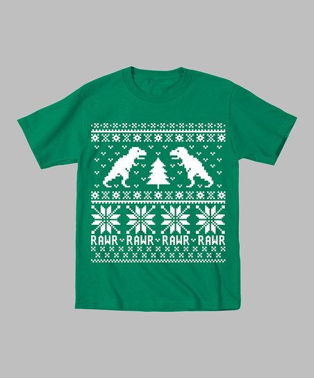 Kelly Green Dinosaur & Christmas Tree Tee - I want one for me!
