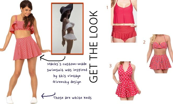 """Teen Beach 2 movie: Mack's (Maia Mitchell) red polka dot ruffle halter and swim skirt bathing suit also seen in the """"That's How We Do"""" music video #teenbeach2 #tb2 #maiamitchell  #disneychannel #getthelook"""