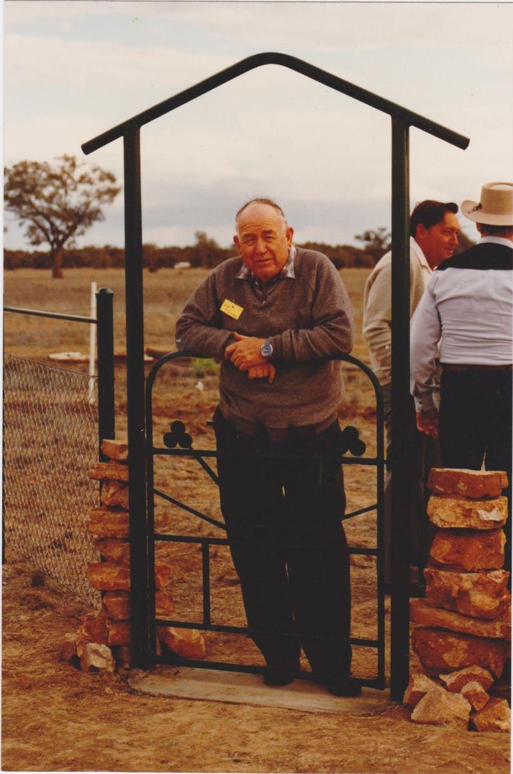 Gate way to Mathews Memorial Park, Bob McGovern at gate, background, Bob McClure & Stan Mathews.