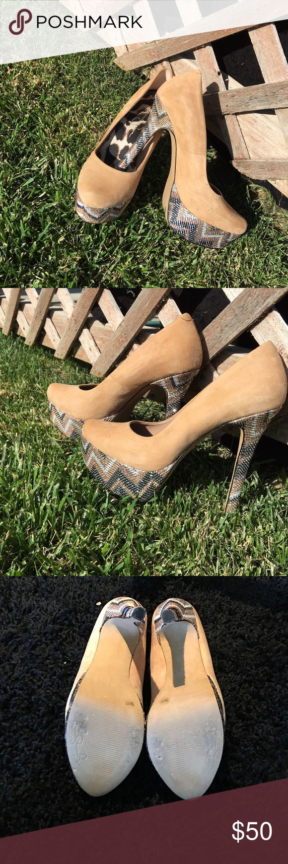 Jessica Simpson suede/glitter Aztec pumps! Adorable nude colored pumps. Suede with rhinestone platform and heel, animal print sole. worn once in perfect condition Jessica Simpson Shoes Platforms