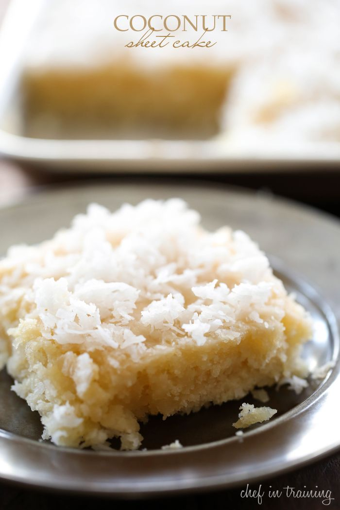 Coconut Sheet Cake - This cake literally MELTS IN YOUR MOUTH!!! It is beyond delicious and super simple to make! One of my favorite cake recipes to date!