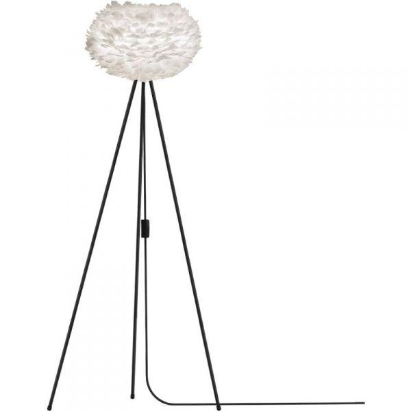 Vita Eos fjäderlampa vit golvlampa Medium svart stativ