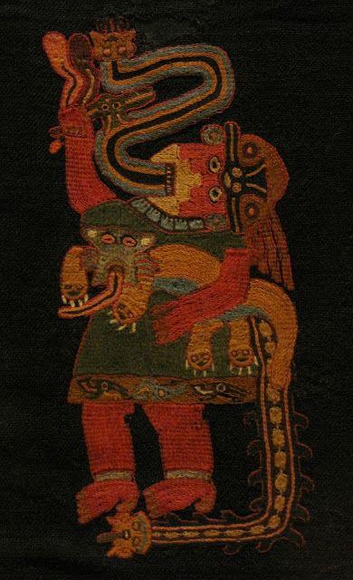 Mantle (detail), camelid wool, 100 BCE/200 CE, Paracas Necropolis; Paracas peninsula, south coast, Peru