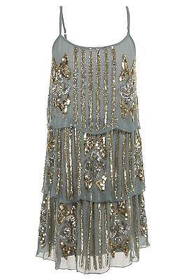 TEAL 1920's FLAPPER CHARLESTON uk 8 12 gatsby ART DECO sequin tiered BLUE dress