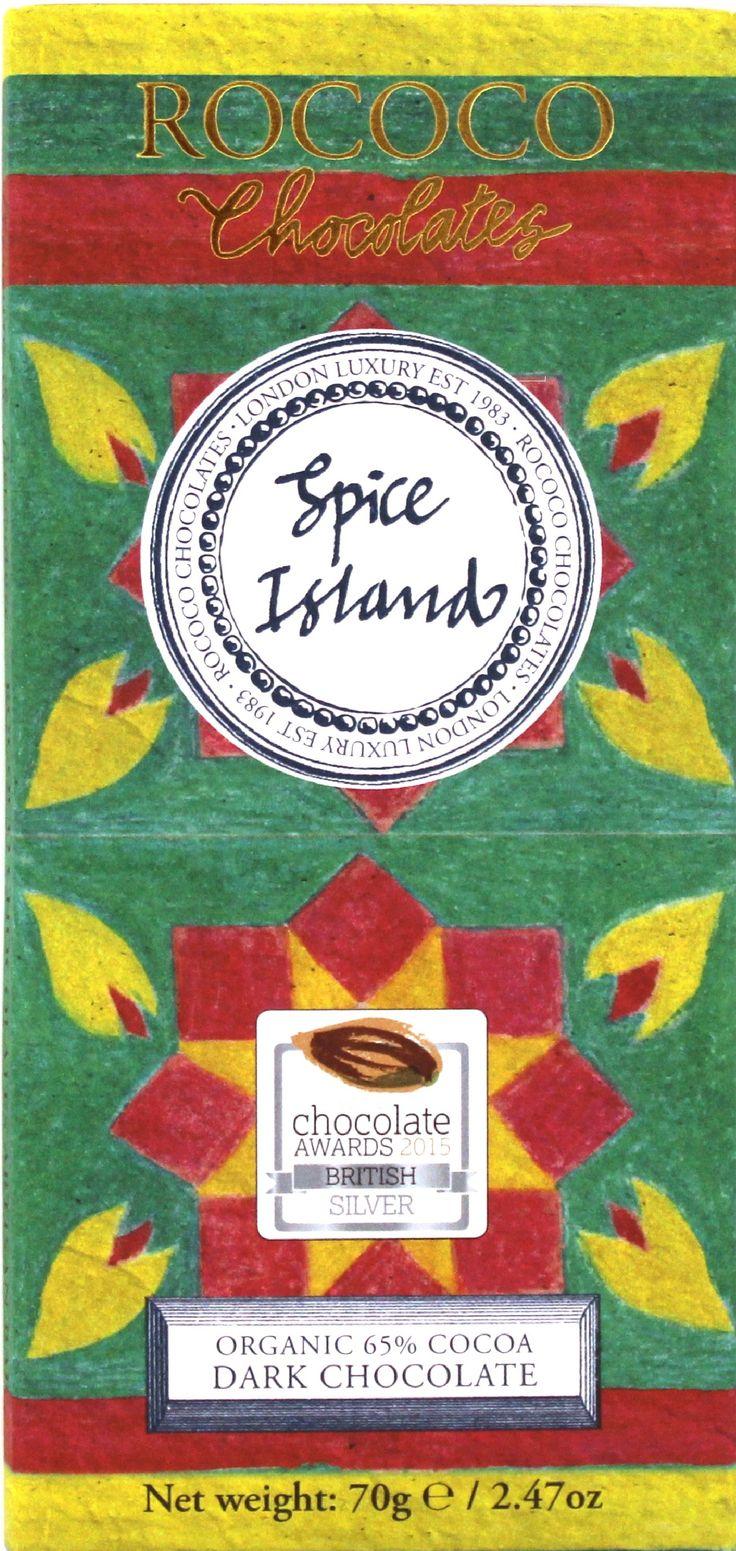 Spicy Island, den prisbelönta ekologiska mörka chokladen med en underbar mångfald av kryddor såsom kardemumma, kanel, muskotblomma, kryddnejlika som ger en fyllig chaismak. Chokladen vann silverpris på chokladtävlingen International Chocolate Awards 2015.   #Rococo #ekologisk #choklad #kanel #kardemumm #Spicyisland #chai #ekologiskchoklad #InternationalChocolateawards #Beriksson