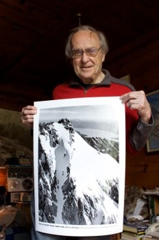 Maybe someday Jay will ski the Grand Teton? Here's Bill Briggs, June 16, 2011, with the poster of his tracks from his June 16, 1971 first ski descent of the Grand Teton from Outerlocal.: Skiing, Here S Bill, Bill Briggs, Track, Teton National