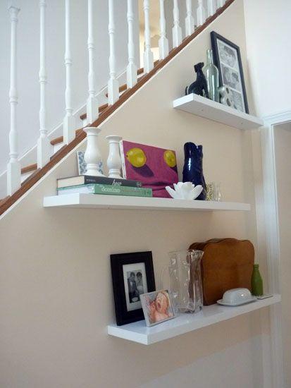 By the stairMarbles Shelf, Room Decororgan, Decor Ideas, House Ideas, Living Room, Book Shelves, Floating Book, Great Ideas, Floating Shelves Decor 1